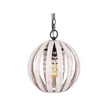 Globe 1-Light Wood Orb Chandelier with Crystal | Overstock.com Shopping - The Best Deals on Chandeliers & Pendants