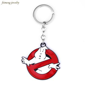Movie Ghostbusters Cartoon Character Pendant Key Chain Ghostbusters Metal Alloy Key Fob Red Key Ring For Women And Men