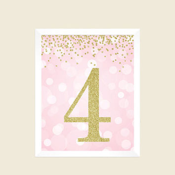 Pink and Gold Glitter, Printable Party Decorations, 4th Birthday Party Sign, Number 4, 4th Birthday Party, Fourth Birthday, Digital Print