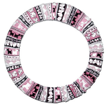 Dog Stripe/Pink Steering Wheel Cover, Cute Fun Animal Car Wheel Cover, Girly Car Accessory, Handmade in USA