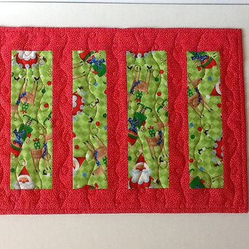 Christmas Quilted Table Runner, Whimsical Santa and Elves Candle Mat, Red and Green Table Runner