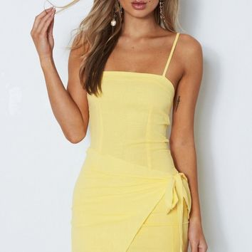 Fake Love Mini Dress Pastel Yellow