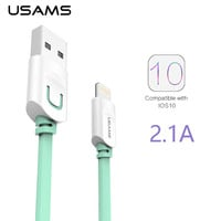 For IPhone Cable IOS 10 9 USAMS 2.1A Fast Charging 0.25m 1m 1.5m Flat Usb Charger Cable For iPhone 7 i6 iPhone 6 6s Cable