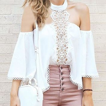 Lace Split Joint Off Shoulder Blouses&Shirts Tops