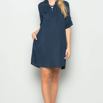 Solid Lace Up Detail Dress with Side Pockets