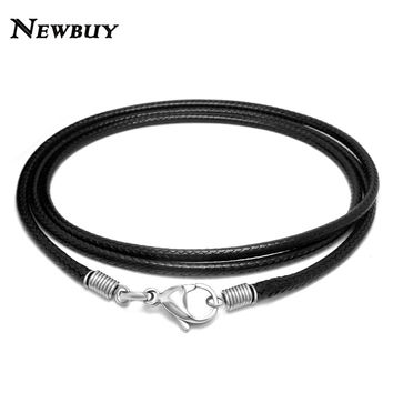 NEWBUY 2017 Simple Design Black Braided Leather Necklace Elegant Fashion Long Rope Necklace for Men and Women