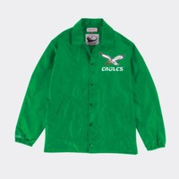 Mitchell & Ness Philadelphia Eagles Mens Coaches Jacket In Green - Beauty Ticks
