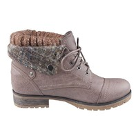 REFRESH WYNNE-01 Women's combat style lace up ankle bootie,6.5 B(M) US,Taupe