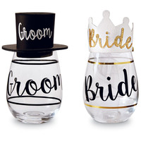 Bride & Groom Wine Glass & Hat Set