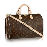 Louis Vuitton Monogram Crosss Body Leather Handles Handbag Canvas Handbag Speedy Bandouliere 35 Article: M41111