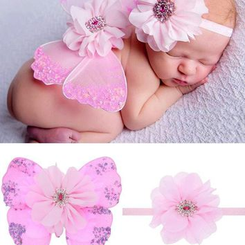 Fashion Supreme Infant Cute Headband +Wing Girls Clothing Set Kids