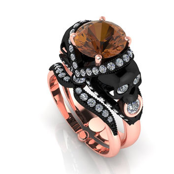 Skull Engagement Ring Chocolate Diamond 2 Carat