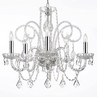 "Empress Crystal (Tm) Chandelier Chandeliers Lighting H25"" X W24"" with Chrome Sleeves! - A46-B43/385/5"