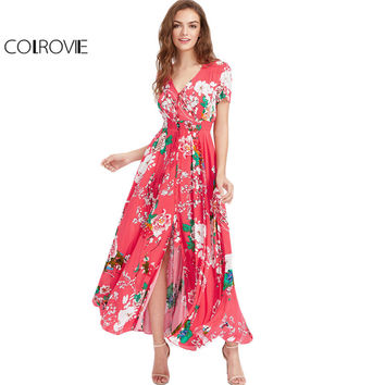 COLROVI Botanical Maxi Beach Dress 2017 Hot Pink Waist Tassel Tie Women Smocked Summer Dresses Button Up Holiday Long Dress