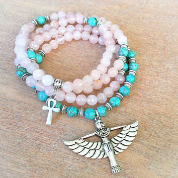 108 Mala Beads | Pink Rose Quartz & Turquoise Howlite Mala with Egyptian Goddess Isis Charm | Meditation Beads, Prayer Beads Yoga Rosary
