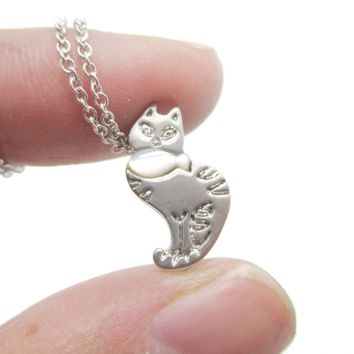 Kitty Cat and Fish Shaped Animal Themed Pendant Necklace in Silver