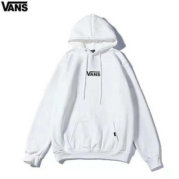 Vans Off the wall new fashion letter print hooded couple long sleeve sweater top White