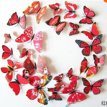 3D Butterfly Wall Decals 12Pcs 2Big+2Middle+8Small PVC 3D Butterfly Wall Stickers For Girl Boy Kids Living Rooms Home Decoration