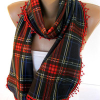 BIG SALE %50 off-Christmas Gift-Winter Scarf, Rectangle Scarf, Gift Scarves, Scarf with trim -Shawl, Women Scarf