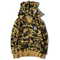 BAPE SHARK camouflage Zipper Hooded pullover Sweater