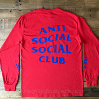 Anti Social Social Club Get Weird Gildan Long Sleeve Tee Shirt ASSC Kanye West T-Shirt Red-Blue