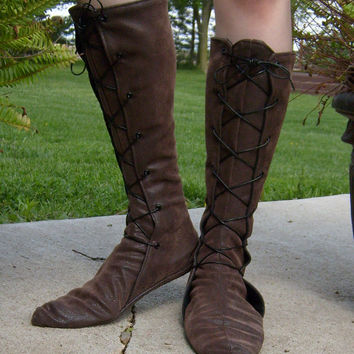 Tall Soft Leather Renaissance Boots---Lace Up, w/Pointed Toe---Unisex---Made To Order