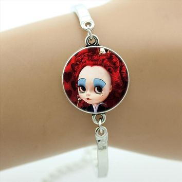 New fashion women kids bracelet case for Alice In Wonderland jewelry White Rabbit Girl Mad Hatter cartoon bracelets gifts CT03