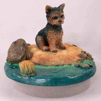 """YORKSHIRE TERRIER PUPPY CUT CANDLE TOPPER TINY ONE """"A DAY ON THE BEACH"""""""