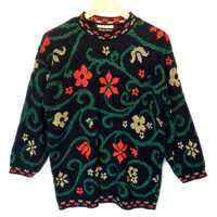 Vintage 80s Sparkle Flower Vines Ugly Christmas Sweater