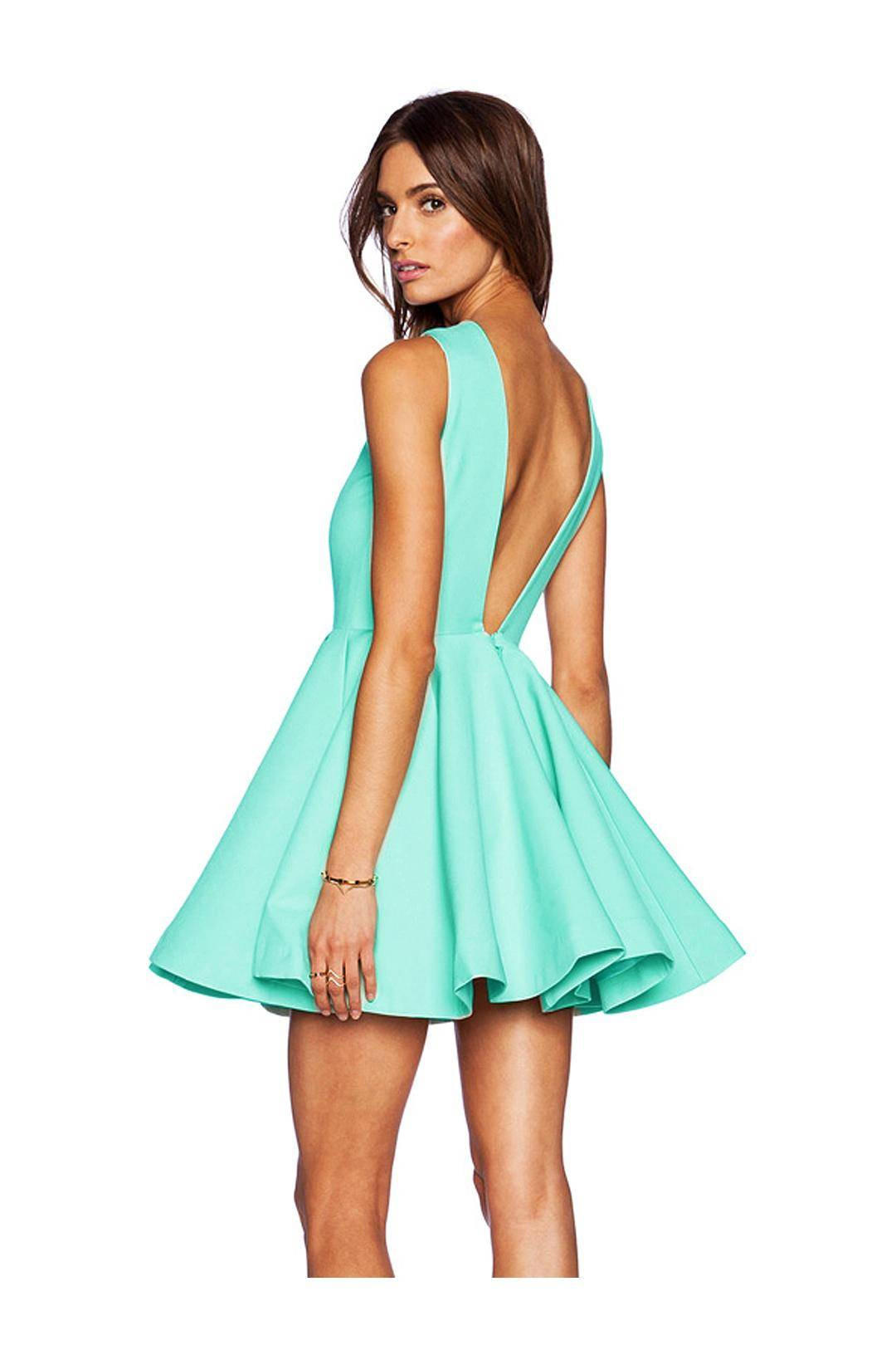 825433a728db V Backless Ball Gown Skater Dress from Young   Free Clothing
