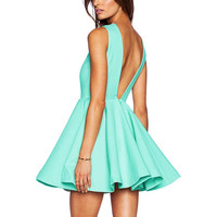 V Backless Ball Gown Skater Dress