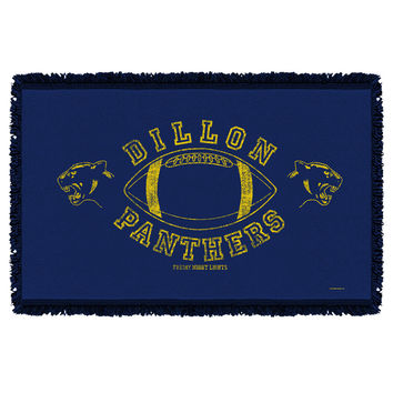 FRIDAY NIGHT LIGHTS/DILLON PANTHERS - WOVEN THROW - WHITE - 48x80