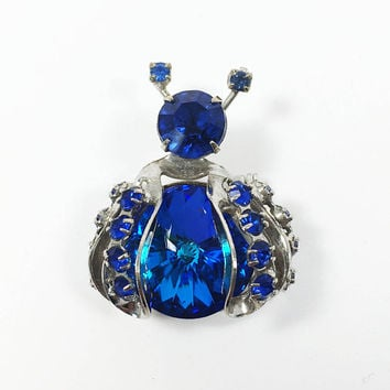Vintage WEISS Blue Crystal Rhinestone Insect Brooch, Mid Century Bug Pin, Estate Jewelry