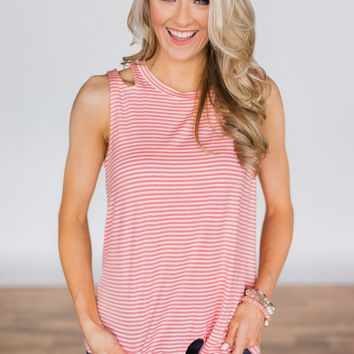 No Holding Back Tie Tank Top - Pink