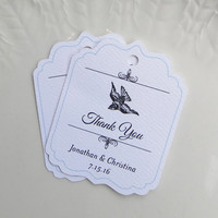 Wedding Favor Tags or Personalized Gift Tags, Vintage Bird Product Tags, Custom Shower Label - Set of 20