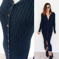 Vintage S/M 90's navy blue button down cable knit body hugging bodycon grunge  sweater maxi long sleeves dress