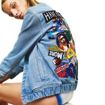 bomber denim jacket autumn winter patchwork embroidered jacket women have a nice trip fashion chic brand cloting