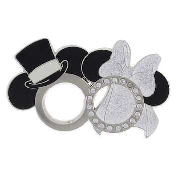 Disney Parks Mickey and Minnie Wedding Rings Pin New with Card