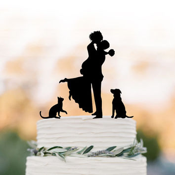 Unique Wedding Cake topper dog, Cake Toppers with cat Groom lifting bride, funny wedding cake toppers silhouette