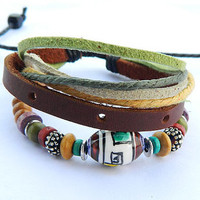 peaceful brown Adjustable  hipster jewelry leather bracelet with wooden bead and hollowed tube  Wristband Mens Womens