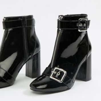 Miss Selfridge patent heeled boots with buckle detail in black at asos.com