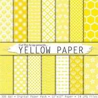 Yellow digital paper: yellow papers pack with yellow patterns damask, polkadots, arrows, honeycomb in light yellow, gold and dark yellow