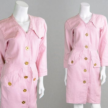 Vintage 80s Yves Saint Laurent YSL Dress Rive Gauche Pastel Pink Linen Military Dress Safari Dress Gold Buttons Baby Pink French Designer