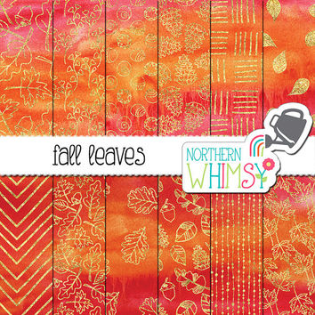 Fall Leaves Digital Paper - orange and pink watercolor backgrounds with gold foil leaf patterns - autumn scrapbook paper - commercial use OK