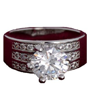 Lovely Luxury Silver Plated Cubic Zirconia Diamond Delicate Ring Party Jewelry For Women