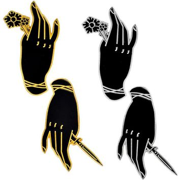 New Personality Black Witch Hand Brooch Handle Rose Hand Knife Dagger Gothic Punk Enamel Pin Badge Friends Jewelry