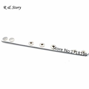 Fit Snap Mini Button White Real Leather Bracelet For Children 20cm Long (suitable button fastener size: about 4.5mm) SB_424