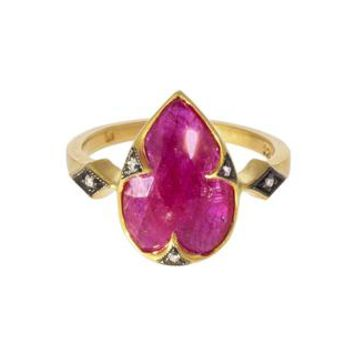 Ruby Thorn and Diamond Prong Ring
