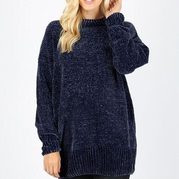 Velvet Yarn Crew Neck Sweater - Navy