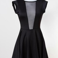 Black Deep-V Mesh Insert Skater Dress